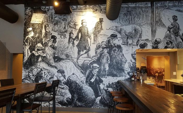 The bar side of Texas Jack's features a reproduction of an old etching.  © Photo by Washington Business Journal