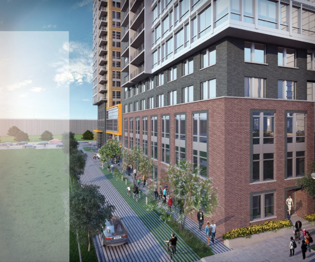 An illustrative rendering of LCOR's The Altaire, formerly 400 Army Navy Dr., looking north toward the private drive. Photo courtesy of the Washington Business Journal.