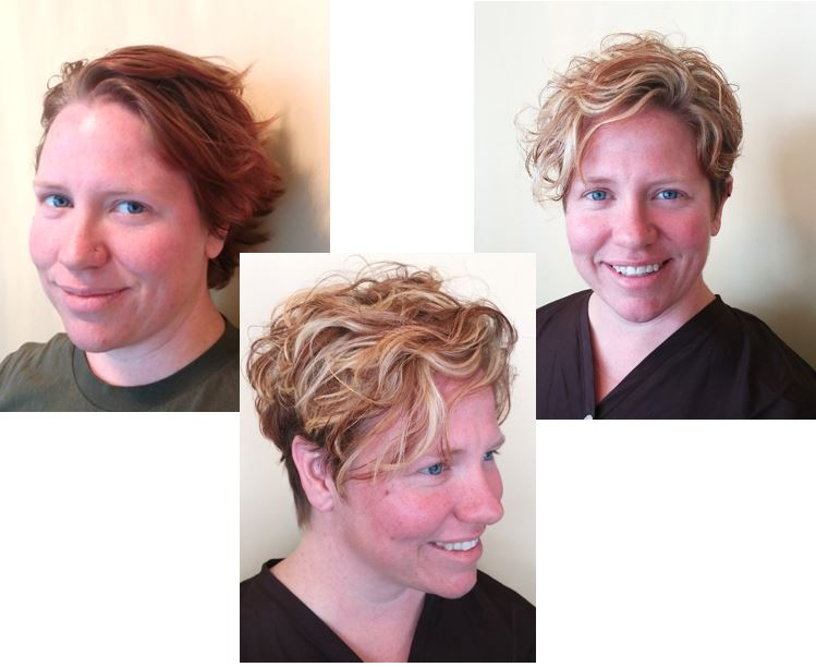 Check out Gina's brilliant blend of contrasting warm colors and an edgy cut to match to welcome the summer season!   *left: before; center & right: after*  Shouts to Ali for being such a lovely canvas!