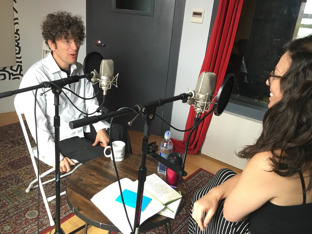 Jenny Blake and James Altucher recording the Pivot Podcast