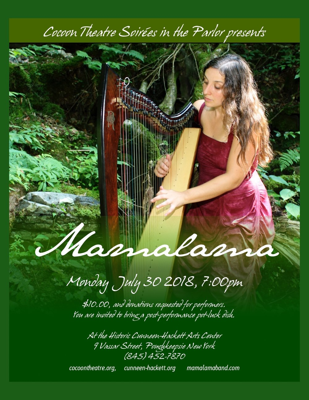 "A listening experience that has been described as ""like walking into a dream,"" Mamalama seamlessly weaves together world music (Native American, Middle Eastern, Celtic), classical minimalism, early/sacred/renaissance, psychedelia, indie-chamber music, and vivid lyrical mysticism. Mamalama is an uncommon orchestration of harp and ethereal voice, hammered dulcimer, glockenspiel, melodica, tenor recorder, piano, tenor mandolin, quena, charango, panpipes, and choral voices.  Mamalama has produced three CDs, and read and hear more about the band and their music at  http://www.mamalamaband.com .  Our upcoming shows will all be concentrating on playing some new material that blends Andes Manta's music and players with Mamalama's. Here is a link to a 28 minute section of this music from a concert in the Old Dutch Church in 2017:  https://soundcloud.com/mamalama-572648143/flutes-passion-of-cloud-causai-pacha-standing-on-serpents"