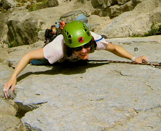 Climbing on one of Portrero Chico's classic rock climbs