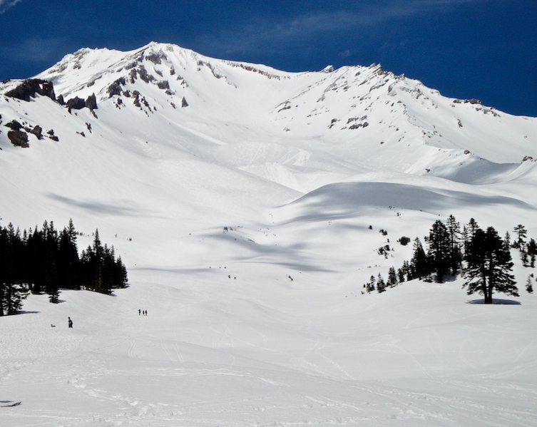 Mount Shasta in prime skiing conditions