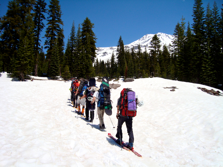 Skiing to basecamp on Mt. Shasta