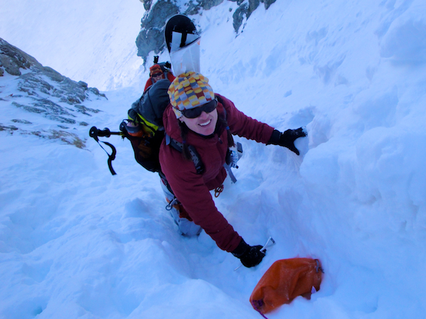 Climbing a couloir using an ice axe