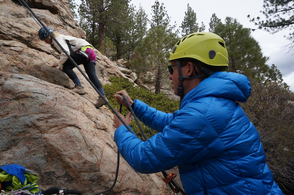 Learning proper belay techniques