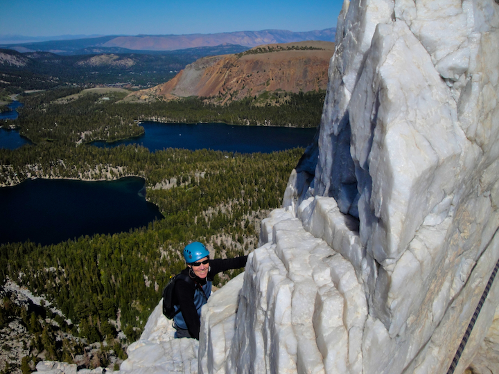 Multi pitch climbing on Crystal Crag in Mammoth Lakes