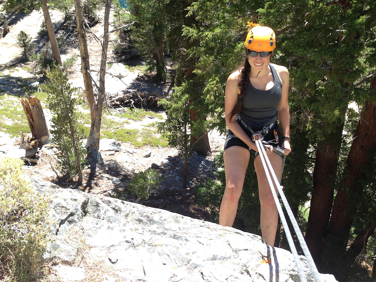 Learning to rappel at a crag in Mammoth Lakes