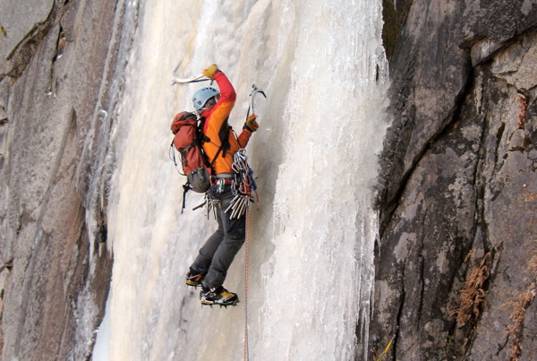 doug on a rare ascent of widows tears in yosemite valley, North america's longest water ice climb