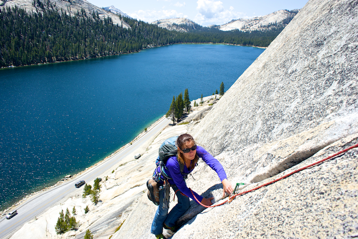 Rock climbing on Stately Pleasure Dome above tenaya lake in Tuolumne Meadows