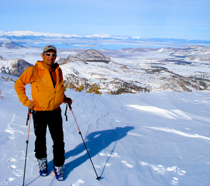 On top of Carson Peak getting ready to ski down. Mono Lake in the background