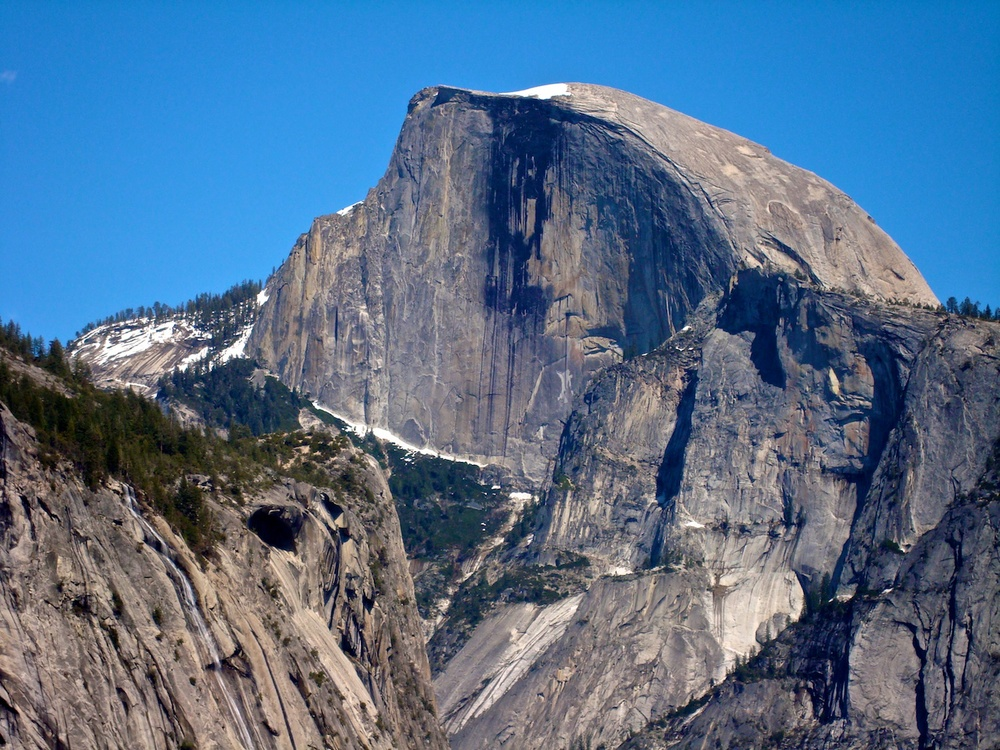 A view of the Northwest Face of Half Dome from Yosemite Valley