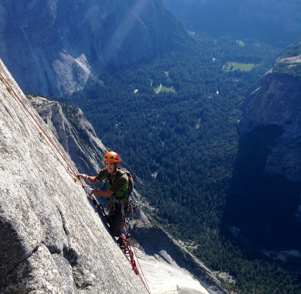 Drew climbing high on the RNWF route of Half Dome during a 2013 ascent