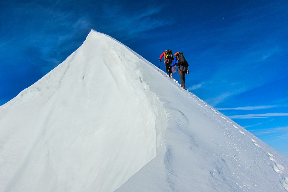 Guiding classic alpine climbing in the Alps