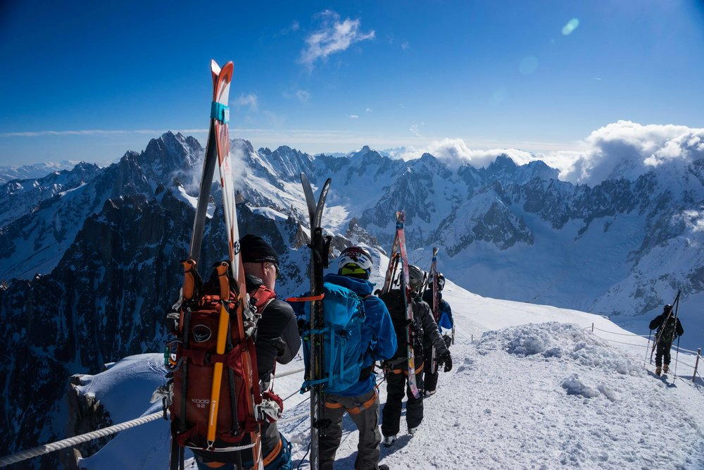The team exiting the aiguille du MIdi in chamonix