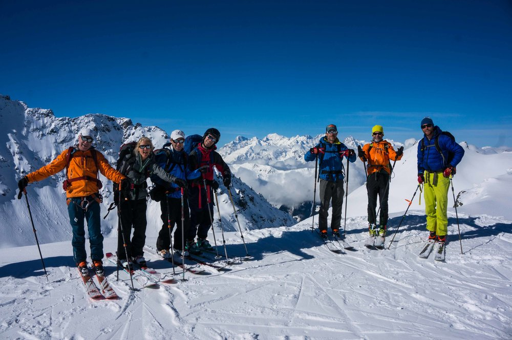 The team at verbier on a blue bird day