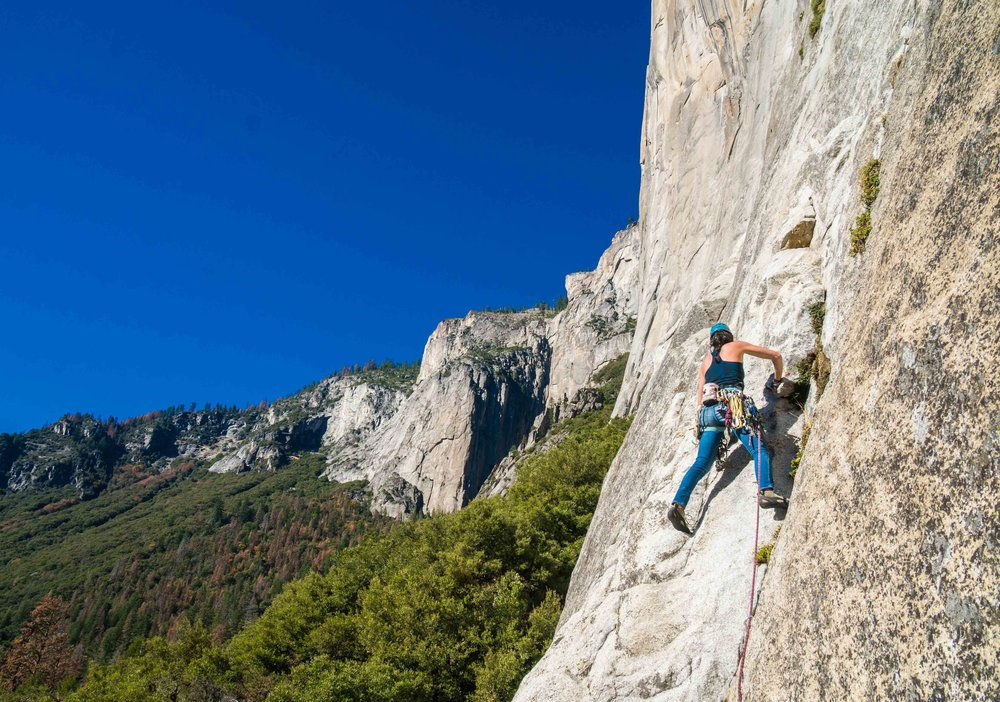 Climbing on el cap in yosemite valley