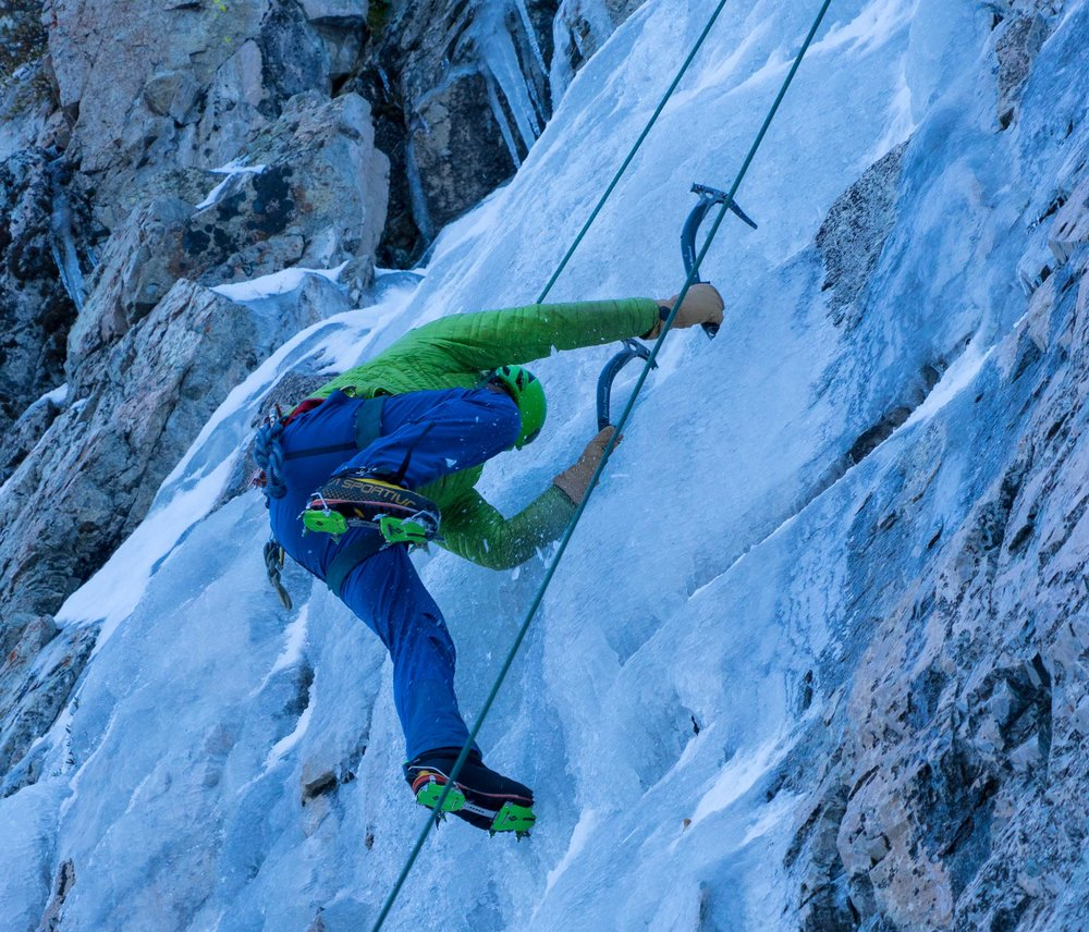 Climbing at Roadside ice in June Lake today.