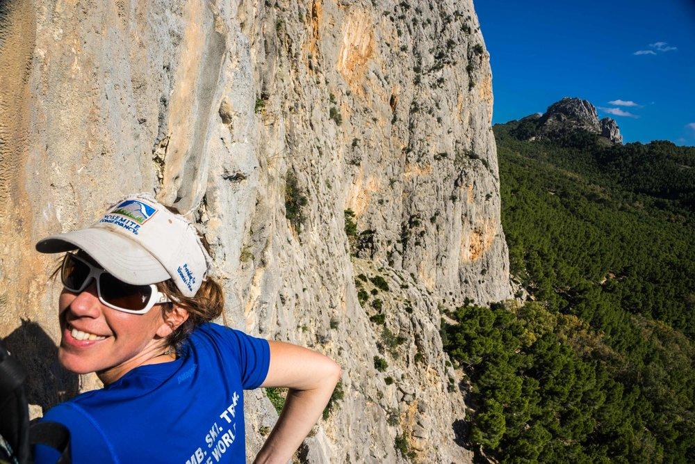 High on an El Chorro multi pitch rock climb