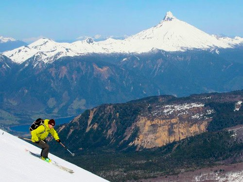 skiing chile volcanoes