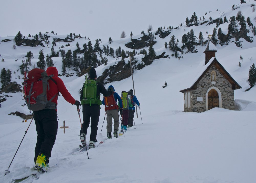 Ski touring on the first day of the Ortler ski tour