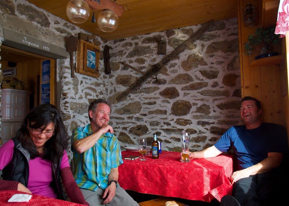 Relaxing in the Branca hut