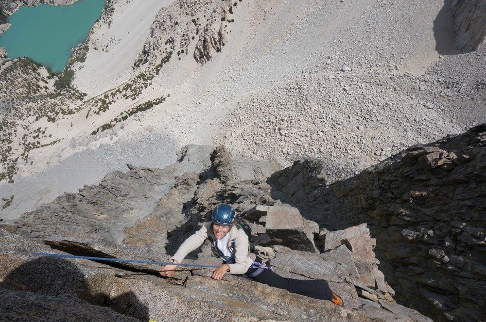 Climbing Temple Crag's Venutian Blind Arete
