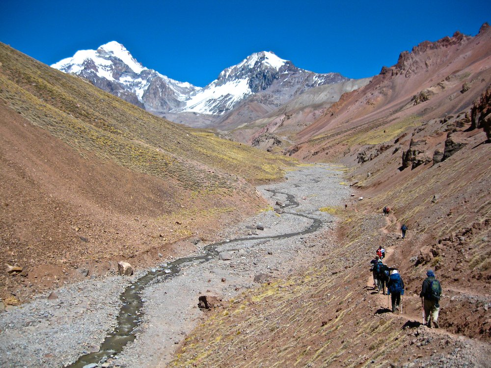 Approach to base camp on Aconcagua