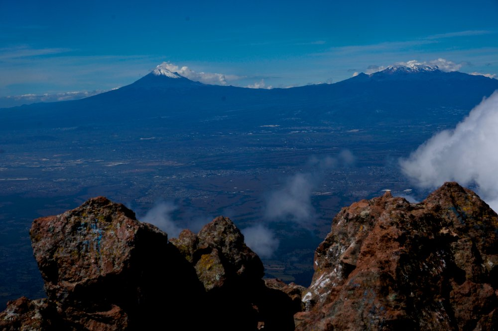 View of Popo and Izta from La Malinche