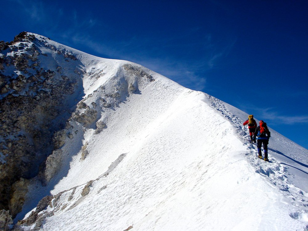 Climbing on the crater rim of Orizaba