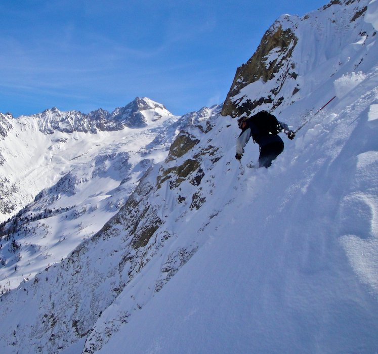 Dropping in to a steep ski run in Chamonix
