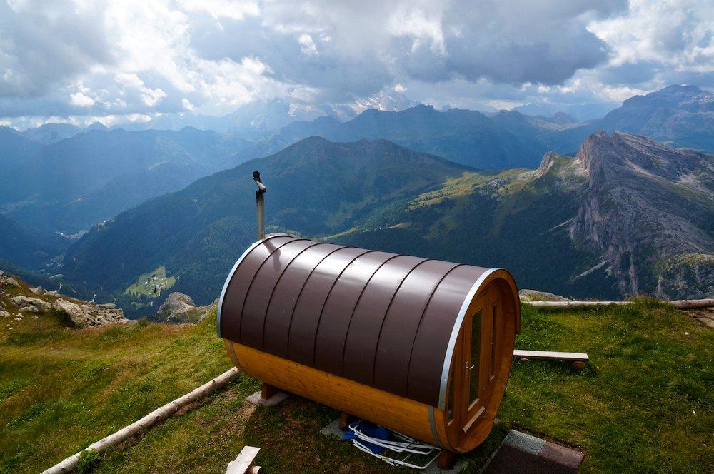 The sauna at the Lagazuoi Hut
