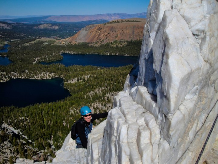 Climbing crystal crag near Mammoth Lakes