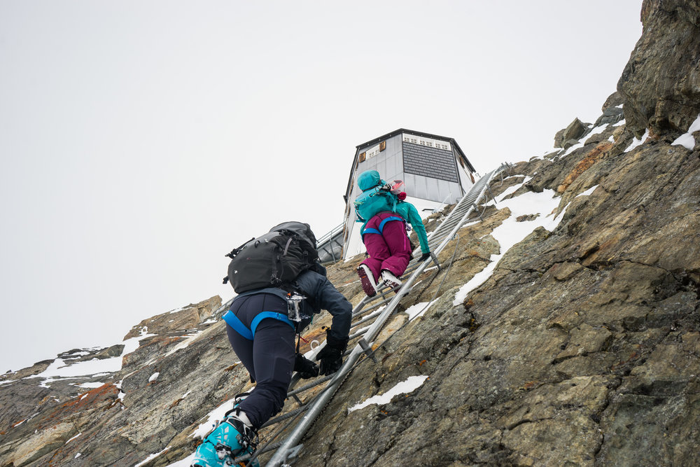 Climbing the ladders to the Bertol Hut