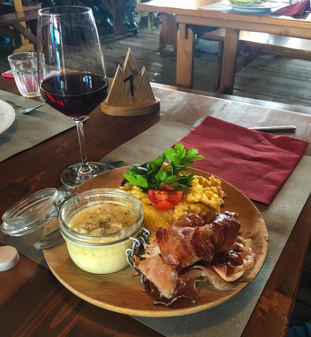 Lunch at an Alagna ski hut