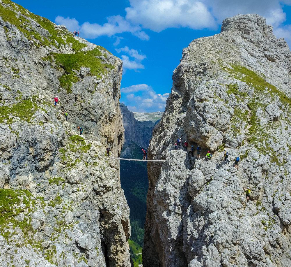 Suspension bridge along a via ferrata near Corvara