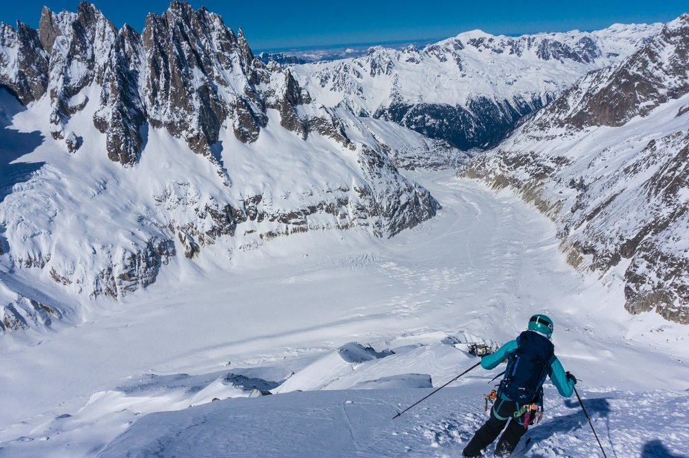 Dropping in at Chamonix