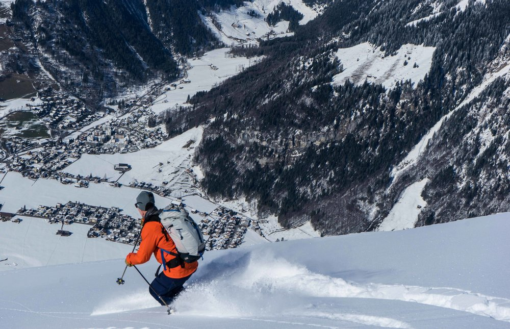 Freeride skiing down the famous powder run known as the Laub in Engelberg, Switzerland