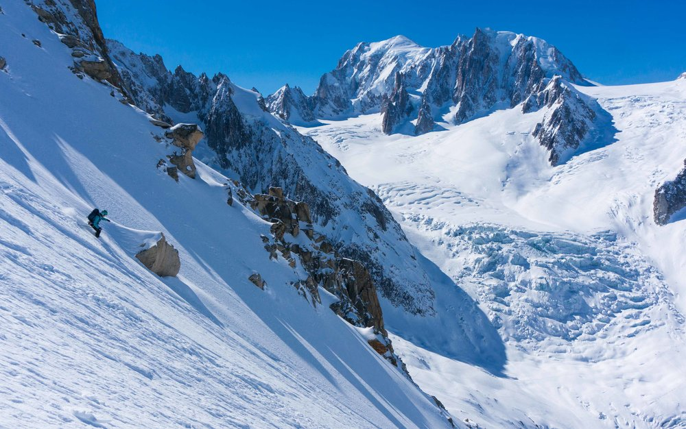 Powder skiing near Chamonix with Mont Blanc in the background