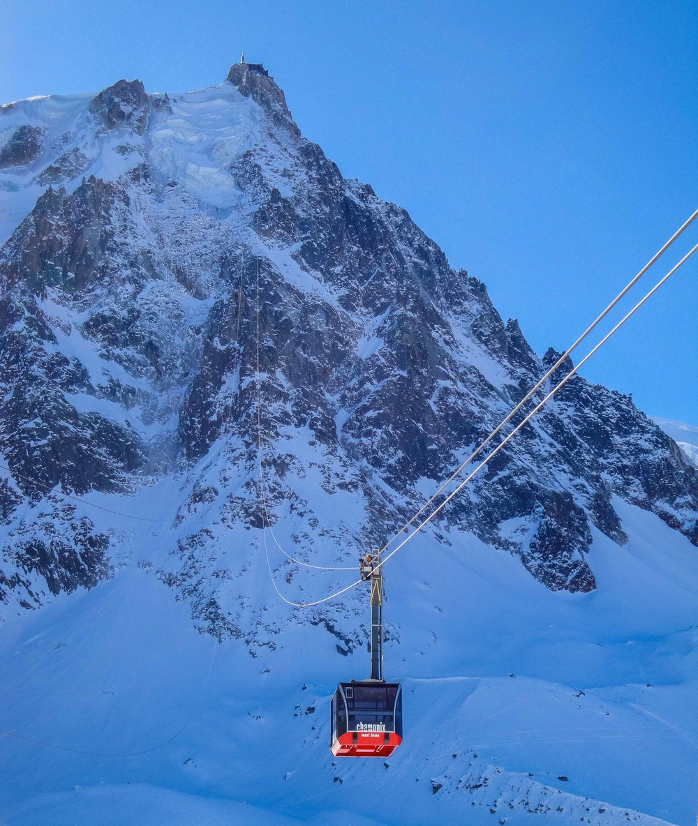 The Aiguille du Midi cable car in Chamonix. 5,000 ft station to station…no towers.