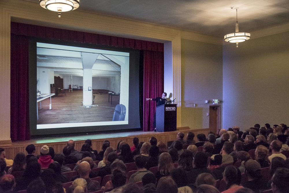 Zittel presenting her Collapsing Time lecture to a packed house on RMCAD's campus. Photo by Third Dune Productions.