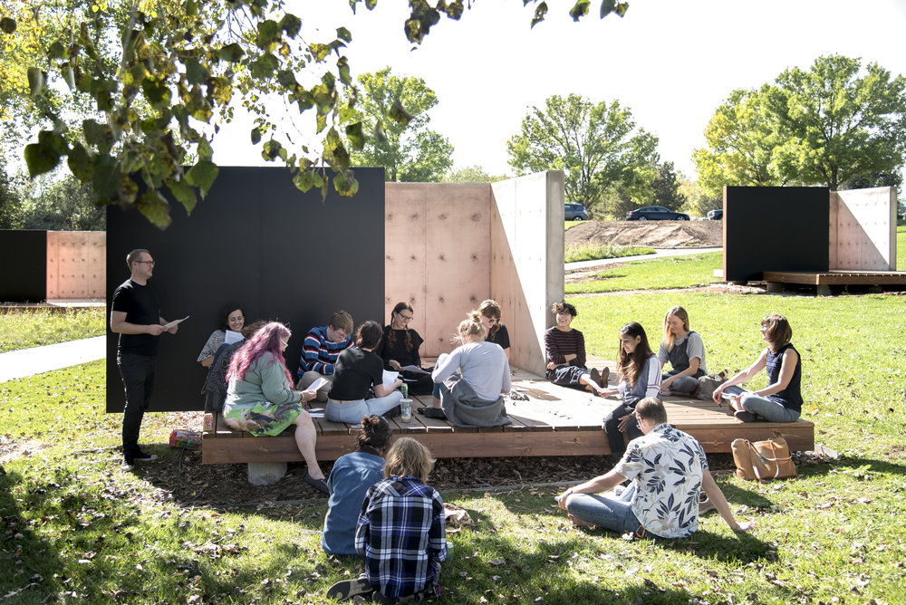 RMCAD students in conversation with artist Andrea Zittel at the site of her artwork, Planar Pavilions. Photo by Third Dune Productions.
