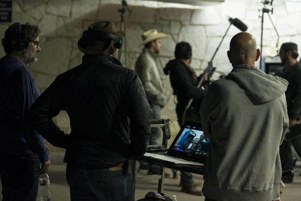 Video village on set.