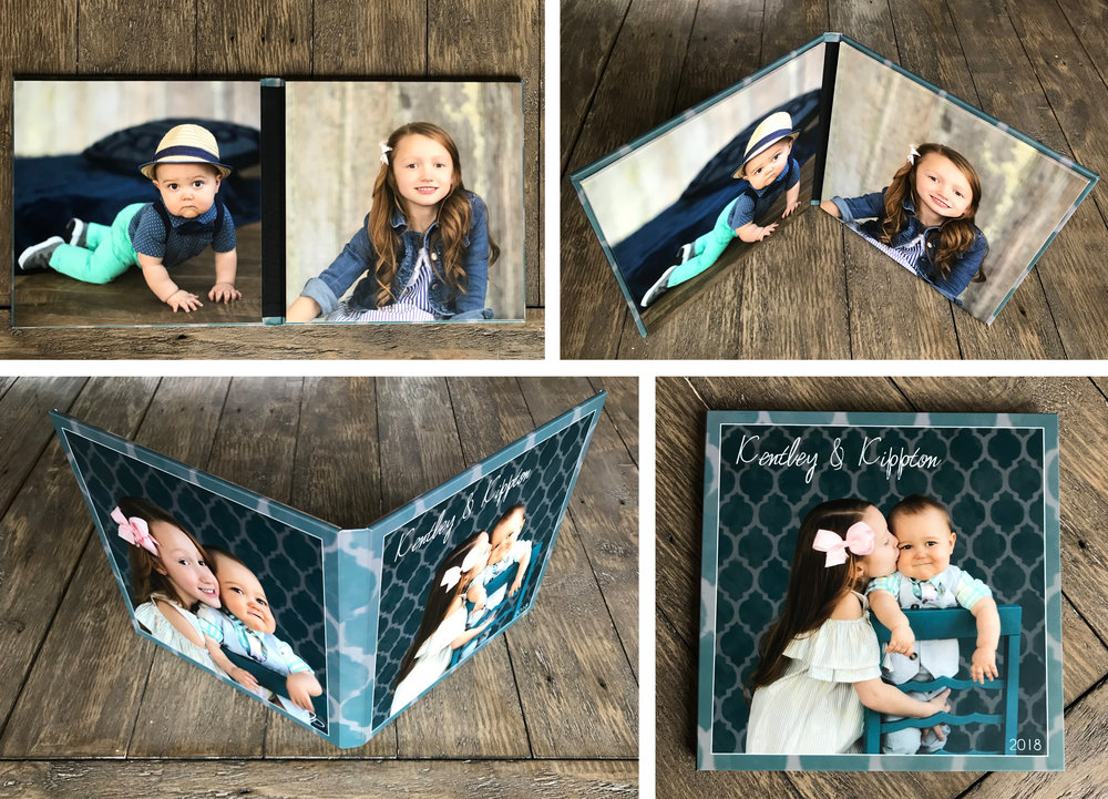 """two 8""""x8"""" images mounted inside a book-type cover with two images wrapped on the outside"""
