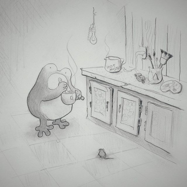 Tea time for Pedro the Starving Artist and his freeloading housemate  #toobrokeforclothes #liveworkspace #notuptocode #pedrothefrog #Brooklyn #comics #sketchbook