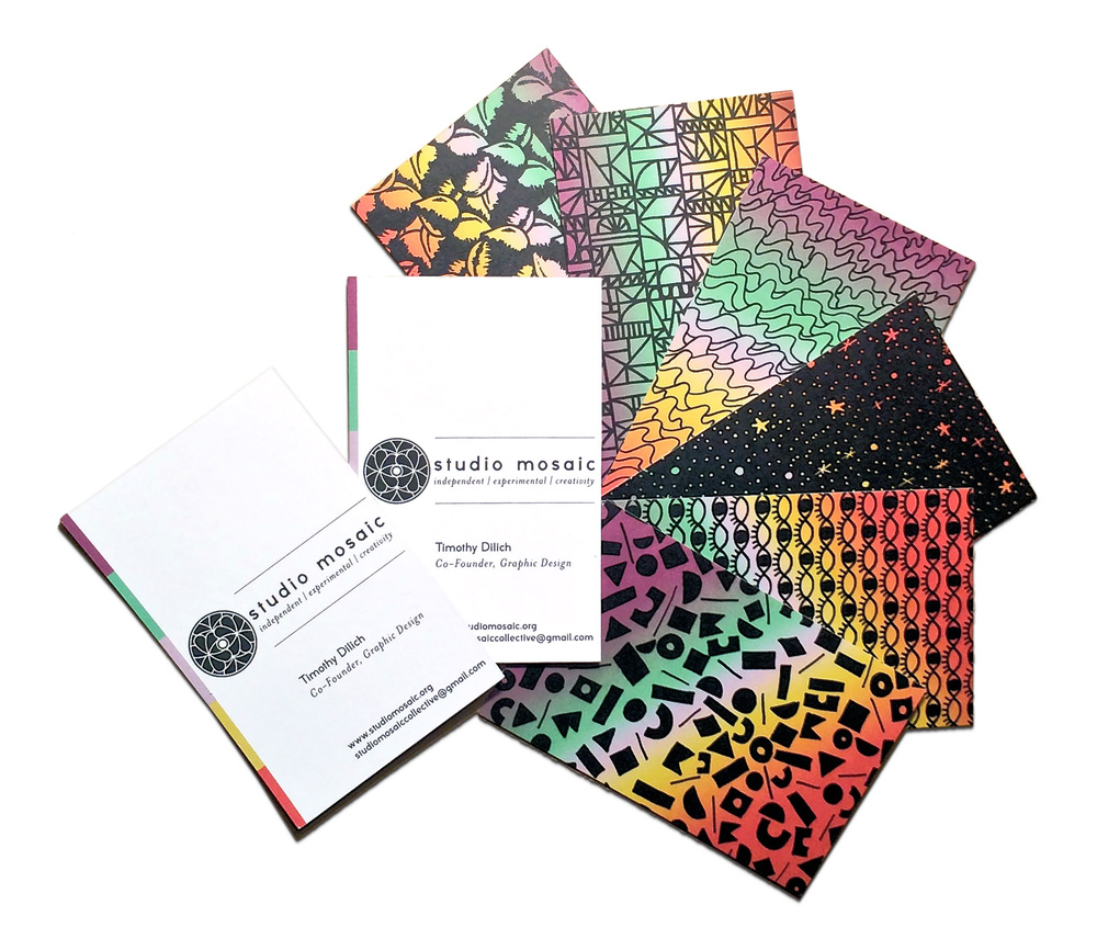 Studio Mosaic is a Chicago-based art collective, digital music label, and independent publisher. It is a space that inspires others to freely collaborate, influence, and engage in the arts. The dynamic branding treatment reflects the collective's multimedia approach to its projects. The heavy saturation and illustrative variety in the business cards suggests our childlike curiosity.  [   STUDIO MOSAIC   ]