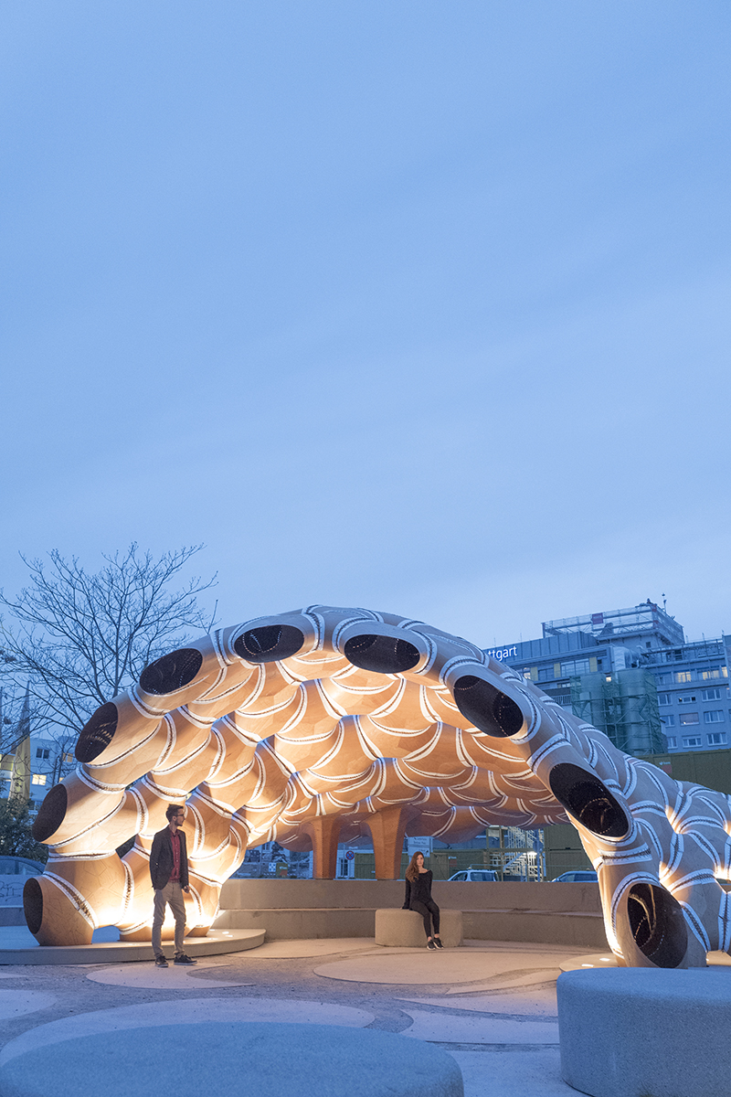Night shot of the ICD/ITKE Research Pavilion at the University of Stuttgart in Germany.