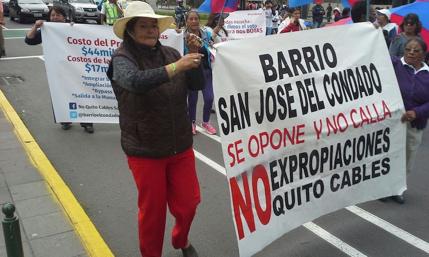 Peaceful protest march in Quito, Ecuador in October 2016 to stop a road expansion that would displace nearly 70 per cent of a nearby village's population. Photos by Dennis Carr.