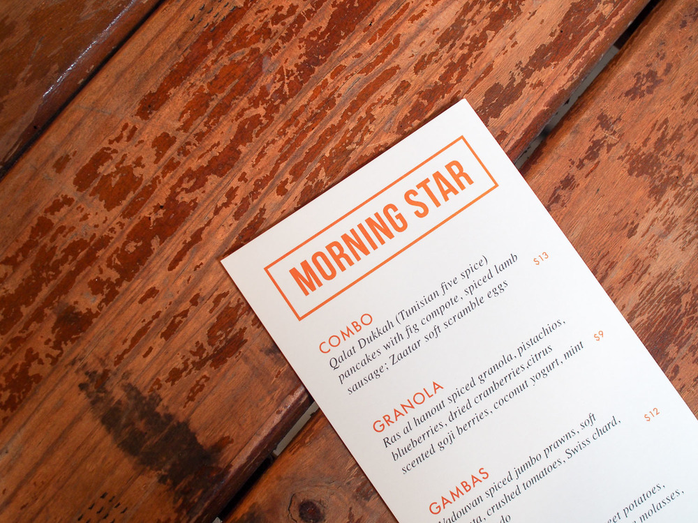 Morning Star Brunch Pop-Up Menu