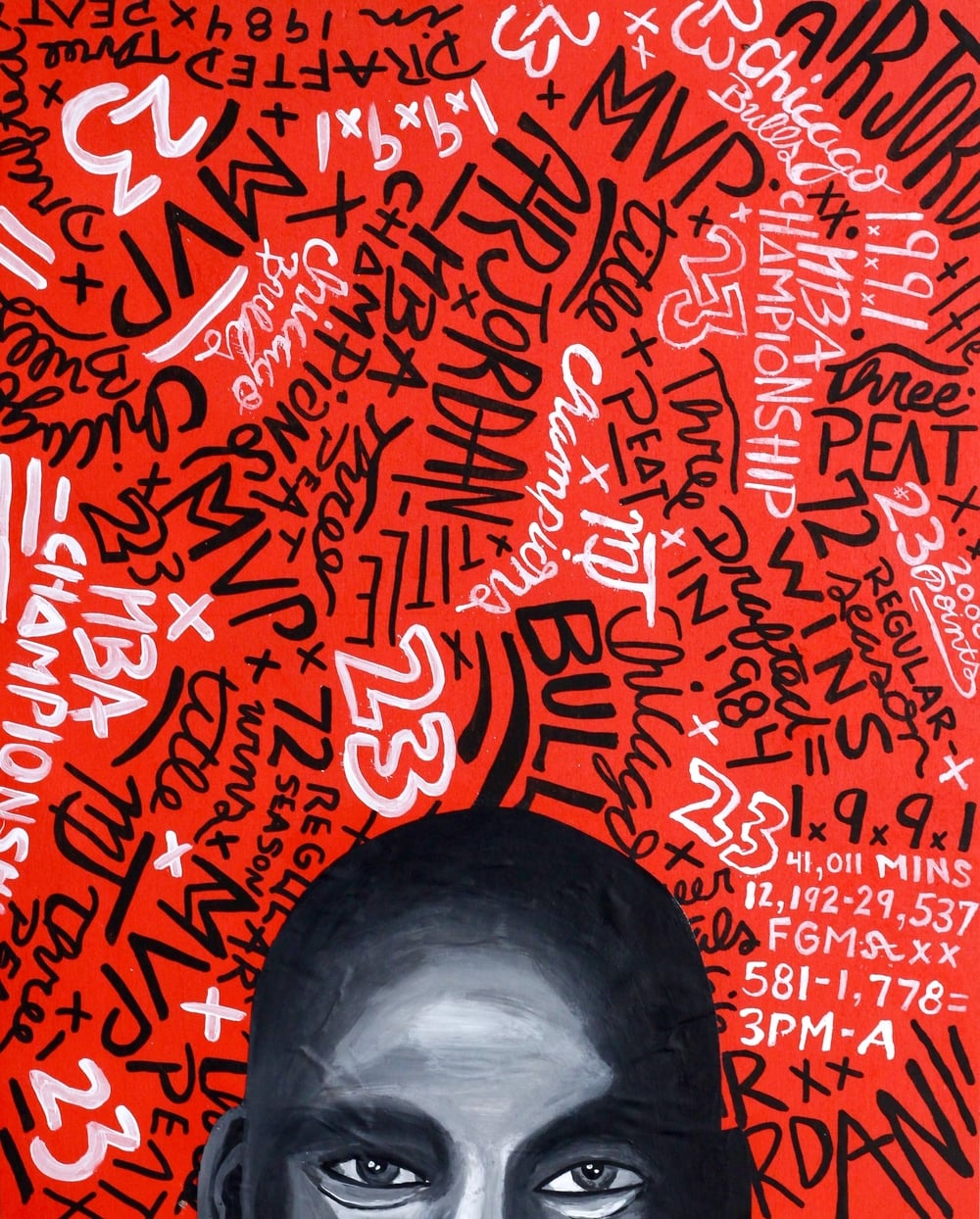 "Michael Jordan Typographic Portrait 16"" x 20"" (2016)"